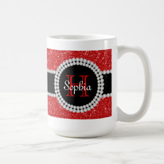 Monogrammed kaffemugg för rött glitter vit mugg