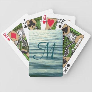 Monogrammed månbelyst hav spel kort
