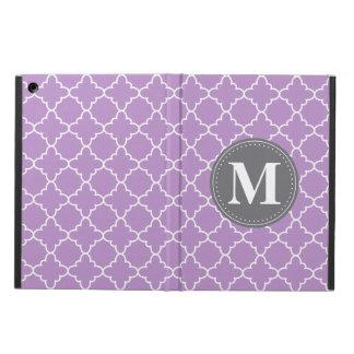 Monogrammed marockanskt galler i lila/grått iPad air skal