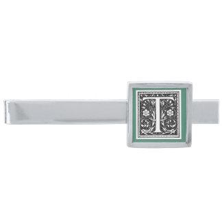 Monogrammed pläterad slipshållare för T silver Slipsnål Med Silverfinish