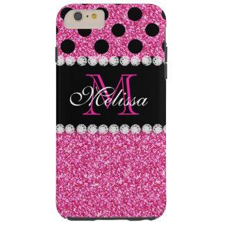 Monogrammed polka dots för rosaglittersvart tough iPhone 6 plus skal