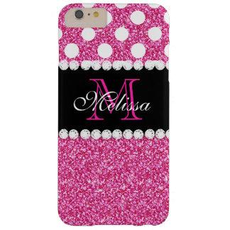 Monogrammed polka dots för rosaglittervit barely there iPhone 6 plus skal