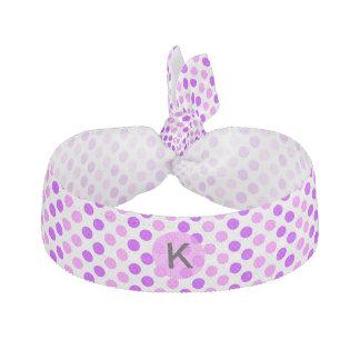 Monogrammed purpurfärgad och rosa polka dots hårband