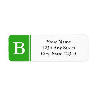Monogrammed returetiketter för grönt och för vit returadress etikett