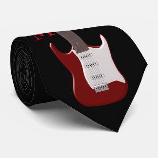 Monogrammed röd elektrisk gitarr slips