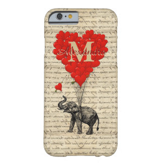 Monogrammed romantisk elefant och hjärta barely there iPhone 6 fodral