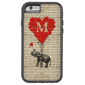 Monogrammed romantisk elefant och hjärta tough xtreme iPhone 6 case