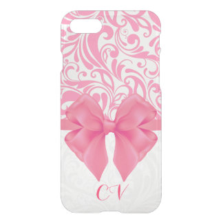 Monogrammed rosa damast- och rosaband iPhone 7 skal