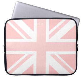 Monogrammed rosa facklig laptop sleeve för