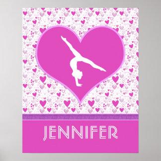 Monogrammed rosa gymnastik för lottohjärtor poster