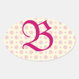 Monogrammed rosa litet hålklistermärke ovalt klistermärke