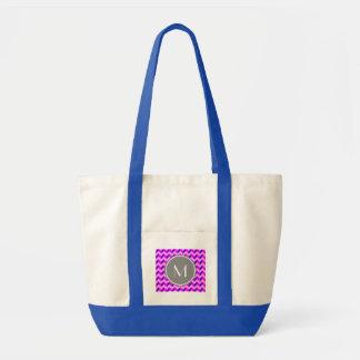 Monogrammed rosa- och lilasparrePatchwork Tygkasse