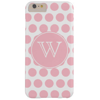 Monogrammed rosa polka dots barely there iPhone 6 plus skal
