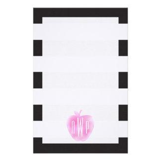 Monogrammed rosa vattenfärg Apple + Randar Brevpapper