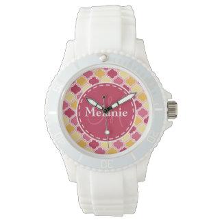 Monogrammed rosagult Quatrefoil Armbandsur