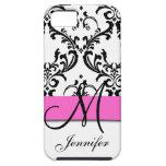 Monogrammed rosasvartvit virvlar runt damast iPhone 5 hud