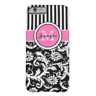 Monogrammed rosor, svarten, vit görade randig barely there iPhone 6 skal
