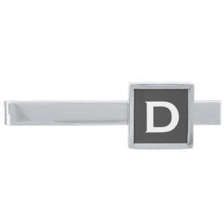 Monogrammed silver för slipshållare som | pläteras slipsnål med silverfinish