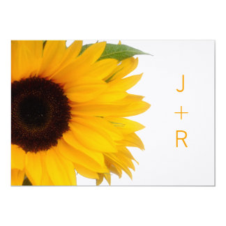 Monogrammed solrosspara datum meddelande 12,7 x 17,8 cm inbjudningskort