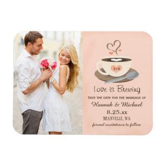 Monogrammed spara för kopp för hjärtarodnadkaffe magnet
