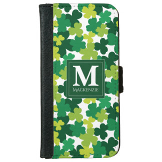 Monogrammed Sts Patrick dagShamrocks iPhone 6/6s Plånboksfodral