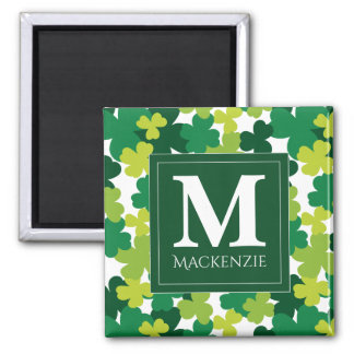 Monogrammed Sts Patrick dagShamrocks Magnet