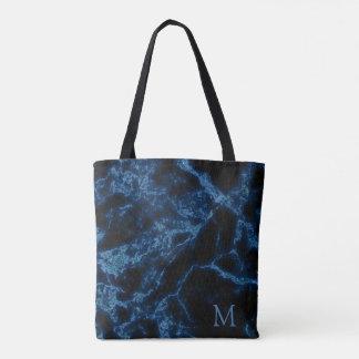 Monogrammed svart bakgrunds- och blåttglitter tygkasse