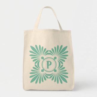 Monogrammed tote bags: Grön blommönster för Aqua Mat Tygkasse