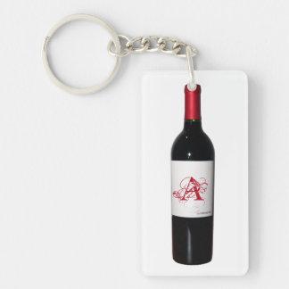 Monogrammed vinflaskaakryl Keychain Nyckelring