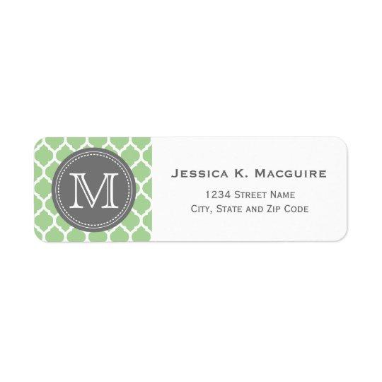 Monogrammed vis mangrönt & grå färg returadress etikett