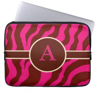 Monogrammed zebra trycklaptop sleeve laptop datorfodral