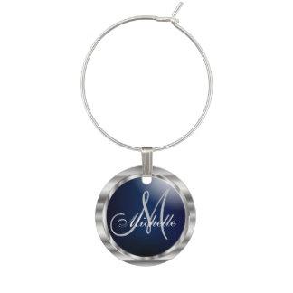 Monogrammörk - blått & metalliskt silver berlock vinglas