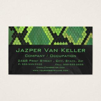 Monogramormgrönt och svart visitkort