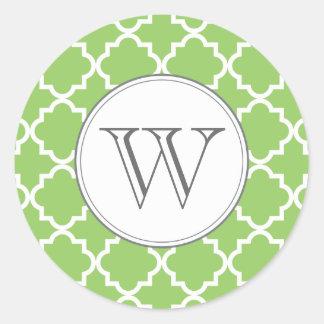 MonogramQuatrefoil klistermärke - grönt