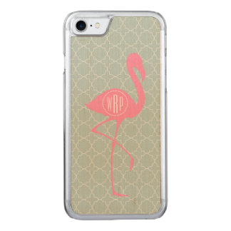 MonogramrosaFlamingo + Quatrefoil Carved iPhone 7 Skal