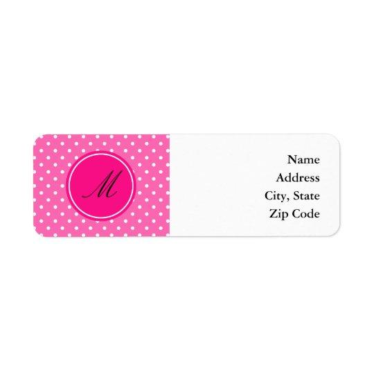 Monogramshock rosa- och vitpolkaen pricker mönster returadress etikett