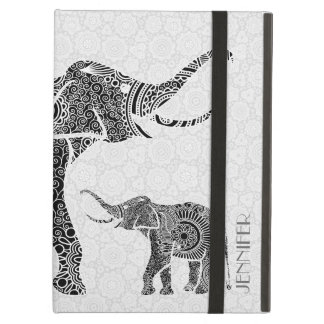 Monogramsvart & elefant för vitvintageblommigt iPad air skydd