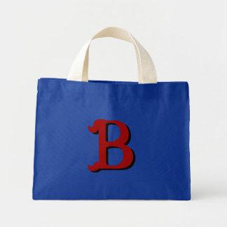 Monogramtoto för B (röd mörk -) Mini Tygkasse