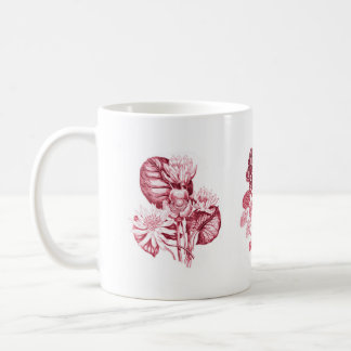 Monokromen blommar i rött vit mugg