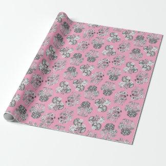 Monokromen blommar på rosa bakgrund Giftwrap Presentpapper