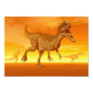 Monolophosaurusdinosaurs 3D framför 12,7 X 17,8 Cm Inbjudningskort