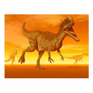 Monolophosaurusdinosaurs 3D framför Vykort