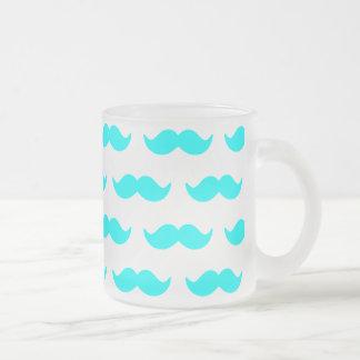 Mönster 1 för Aquablått- och vitmustasch Frostad Glas Mugg