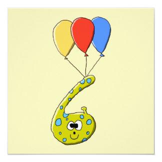 Monster. för 6efödelsedagtecknad fyrkantigt 13,3 cm inbjudningskort