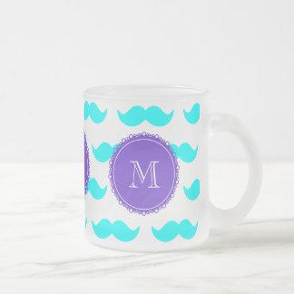 Mönster för Aquablåttmustasch, purpurfärgad Frostad Glas Mugg