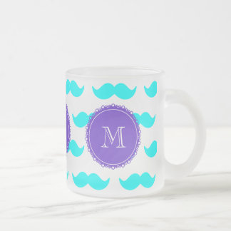 Mönster för Aquablåttmustasch, purpurfärgad vitMon Frostad Glas Mugg
