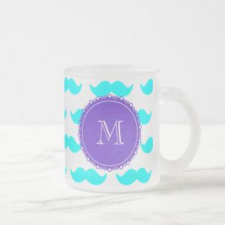 Mönster för Aquablåttmustasch, purpurfärgad vitMon Kaffe Koppar