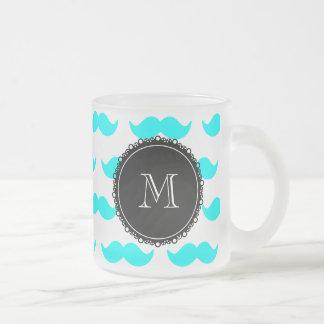 Mönster för Aquablåttmustasch, svart vitMonogram Frostad Glas Mugg