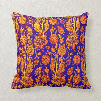 Mönster för blått för glänsande blommigtgult kudde