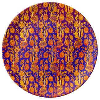 Mönster för blått för glänsande blommigtgult porslinstallrik